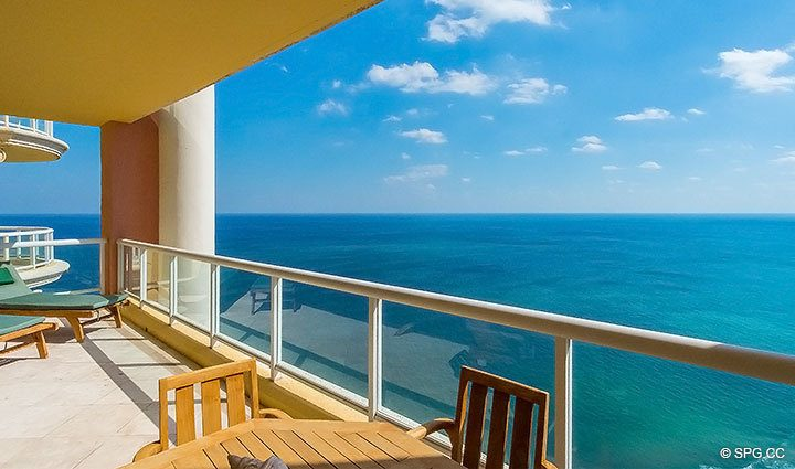Stunning Terrace Views from the Grand Penthouse 30A, Tower II at The Palms, Luxury Oceanfront Condos in Fort Lauderdale, South Florida 33305