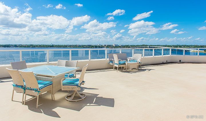Grand Terrace for Penthouse 4 at Bellaria, Luxury Oceanfront Condominiums in Palm Beach, Florida 33480.