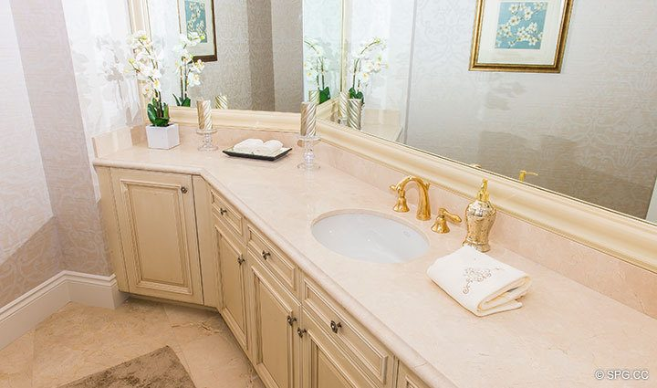 Master Bath Sinks inside Penthouse 4 at Bellaria, Luxury Oceanfront Condominiums in Palm Beach, Florida 33480.