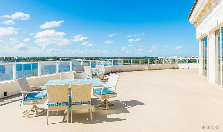 Magificent Waterfront Terrace at Penthouse 4 at Bellaria, Luxury Oceanfront Condominiums in Palm Beach, Florida 33480.