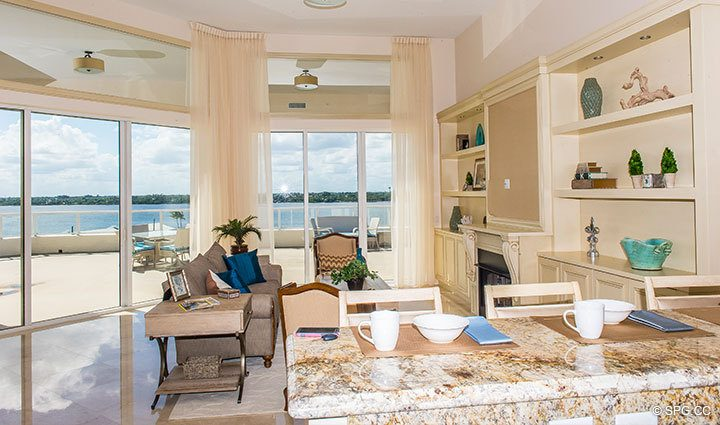 Family Room inside Penthouse 4 at Bellaria, Luxury Oceanfront Condominiums in Palm Beach, Florida 33480.