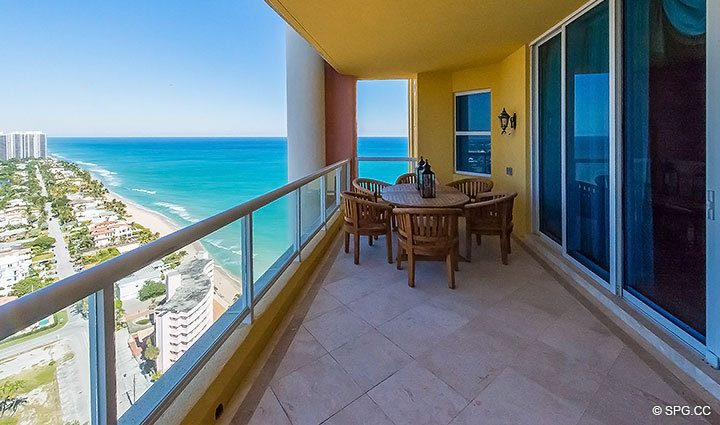 Northern Terrace View from Grand Penthouse 30A, Tower II at The Palms, Luxury Oceanfront Condos in Fort Lauderdale, South Florida 33305