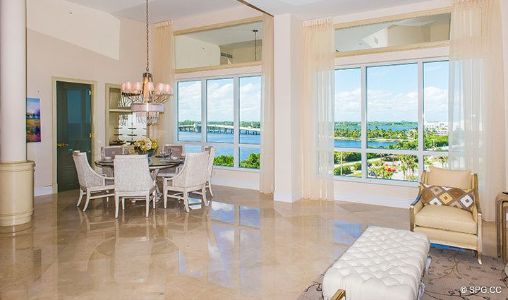 Dining Area inside Penthouse 4 at Bellaria, Luxury Oceanfront Condominiums in Palm Beach, Florida 33480.