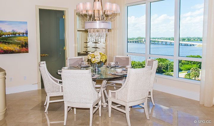 Dining Area Table inside Penthouse 4 at Bellaria, Luxury Oceanfront Condominiums in Palm Beach, Florida 33480.