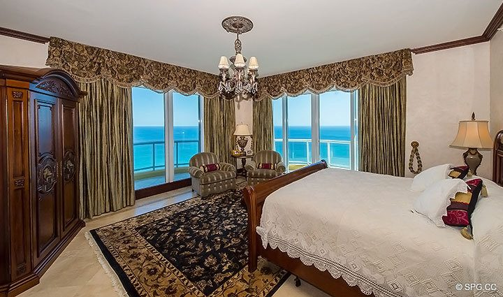 Beautiful Bedroom with Stunning Ocean Views in Grand Penthouse 30A, Tower II at The Palms, Luxury Oceanfront Condos in Fort Lauderdale, South Florida 33305