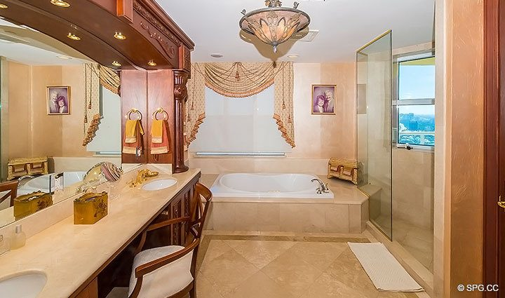 Relaxing Bathroom with Whirlpool Tub in Grand Penthouse 30A, Tower II at The Palms, Luxury Oceanfront Condos in Fort Lauderdale, South Florida 33305