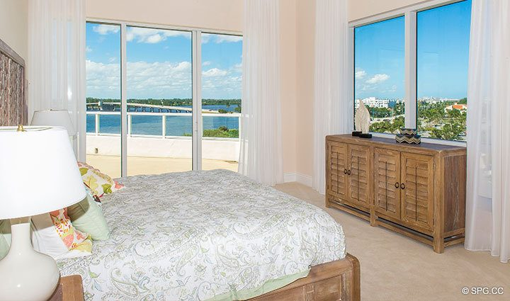Bedroom with Terrace Access in Penthouse 4 at Bellaria, Luxury Oceanfront Condominiums in Palm Beach, Florida 33480.