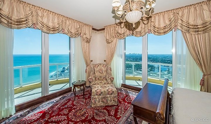 Bedroom with Floor to Ceiling Glass and Terrace in Grand Penthouse 30A, Tower II at The Palms, Luxury Oceanfront Condos in Fort Lauderdale, South Florida 33305