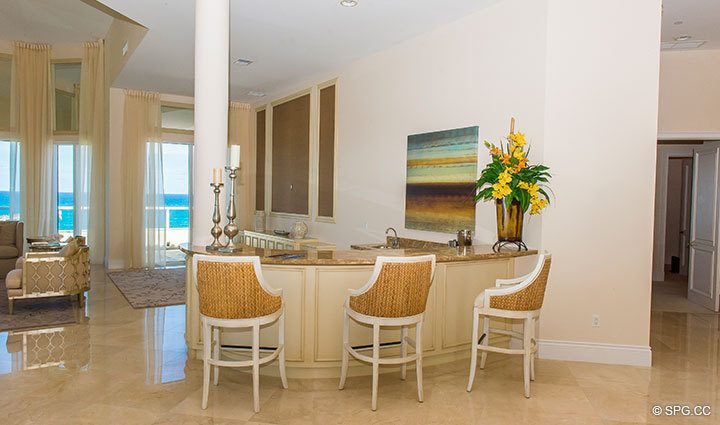 Bar Area inside Penthouse 4 at Bellaria, Luxury Oceanfront Condominiums in Palm Beach, Florida 33480.