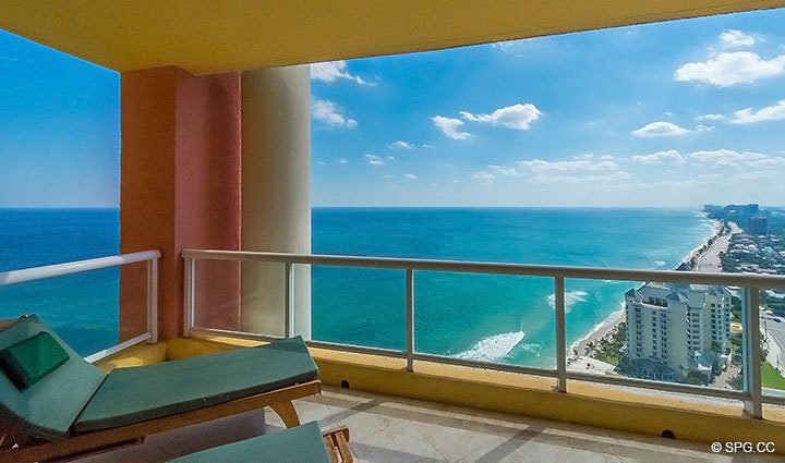 Expansive Oceanside Terrace for the Grand Penthouse 30A, Tower II at The Palms, Luxury Oceanfront Condos in Fort Lauderdale, South Florida 33305