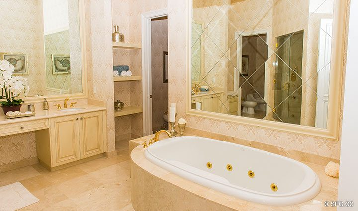 Master Bathroom inside Penthouse 4 at Bellaria, Luxury Oceanfront Condominiums in Palm Beach, Florida 33480.