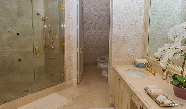 Master Bath Shower inside Penthouse 4 at Bellaria, Luxury Oceanfront Condominiums in Palm Beach, Florida 33480.