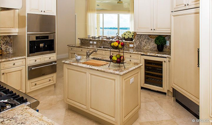 Gourmet Kitchen inside Penthouse 4 at Bellaria, Luxury Oceanfront Condominiums in Palm Beach, Florida 33480.