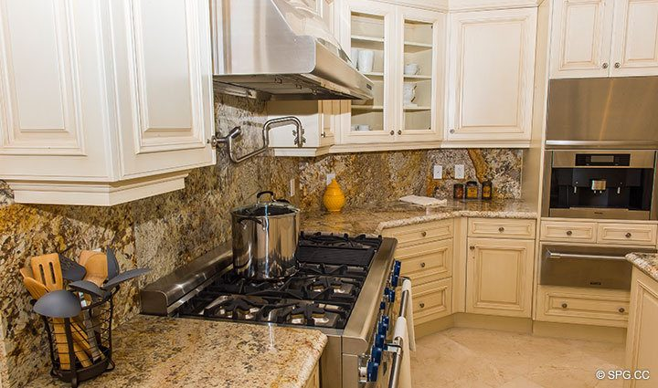 Gourmet Kitchen with Gas Range inside Penthouse 4 at Bellaria, Luxury Oceanfront Condominiums in Palm Beach, Florida 33480.