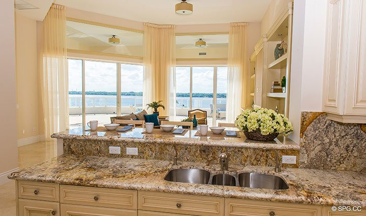 View from Kitchen inside Penthouse 4 at Bellaria, Luxury Oceanfront Condominiums in Palm Beach, Florida 33480.