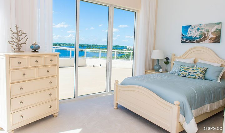Guest Bedroom with Terrace Access in Penthouse 4 at Bellaria, Luxury Oceanfront Condominiums in Palm Beach, Florida 33480.