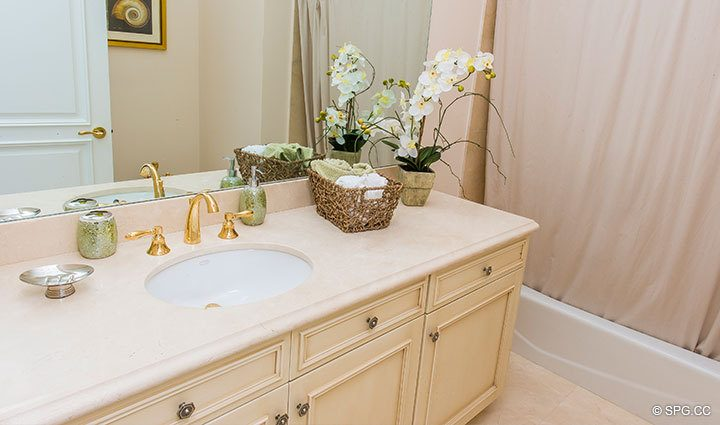 Guest Bathroom inside Penthouse 4 at Bellaria, Luxury Oceanfront Condominiums in Palm Beach, Florida 33480.