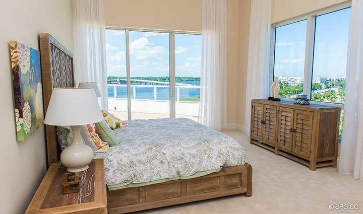 Guest Bedroom inside Penthouse 4 at Bellaria, Luxury Oceanfront Condominiums in Palm Beach, Florida 33480.