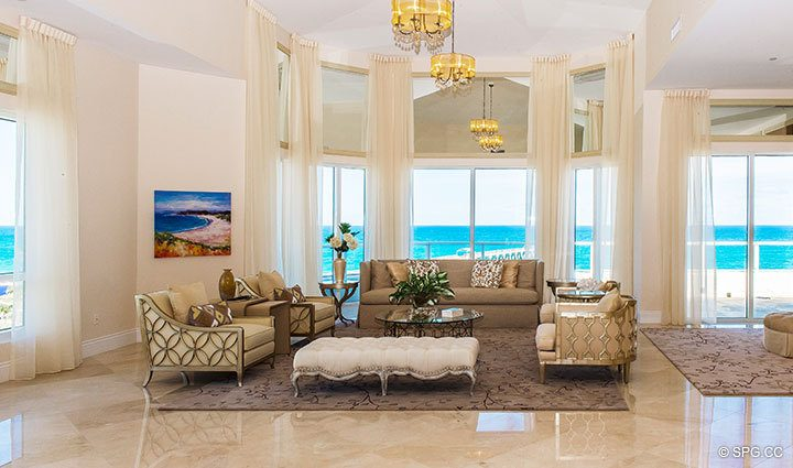 Living Room inside Penthouse 4 at Bellaria, Luxury Oceanfront Condominiums in Palm Beach, Florida 33480.