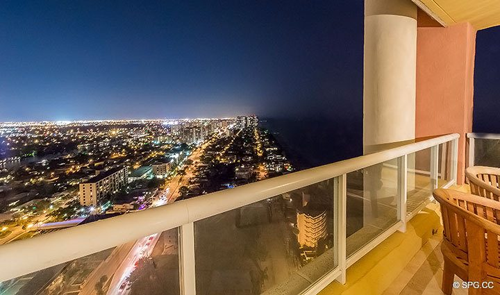 Beautiful Northern Terrace View at Night from Grand Penthouse 30A, Tower II at The Palms, Luxury Oceanfront Condos in Fort Lauderdale, South Florida 33305