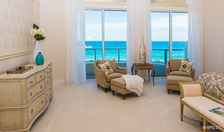 Master Bedroom inside Penthouse 4 at Bellaria, Luxury Oceanfront Condominiums in Palm Beach, Florida 33480.